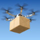 Quadcopter delivering a package