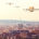 futuristic drones flying over the city