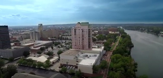 Aerial view of Atlanta Georgia by drone.