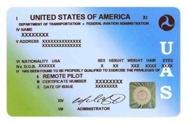 An example Remote Pilot Certificate issued by the FAA.